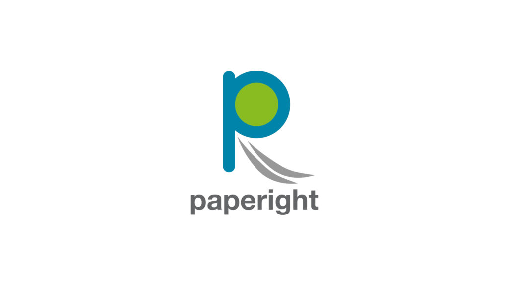 The logo for Paperight, a blue P with the word 'paperight' below it