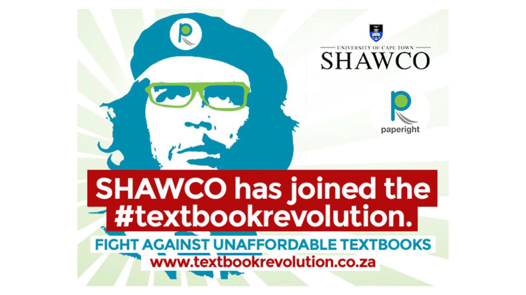 An advert with a stylised image of Che Guevara saying 'SHAWCO has joined the #textbookrevolution